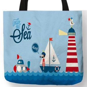 Tote Bag - NEW-  Nautical Beach Sea Lighthouse